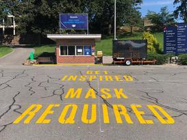 parking lot marking mask required at Brandeis University