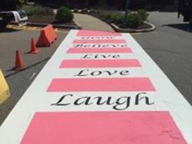 pink crosswalk painting