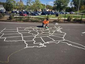 playground pavement painting of USA map